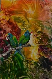 Papoušci v pralese -enkaustika