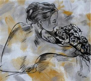 Žena s kyticí růži